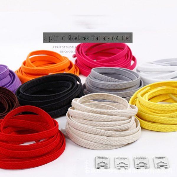 1pair 100cm No Tie Lazy Shoelaces Elastic Rubber Shoes Lace Sneaker Children Safe Elastic Lacets Elastique 1.jpg