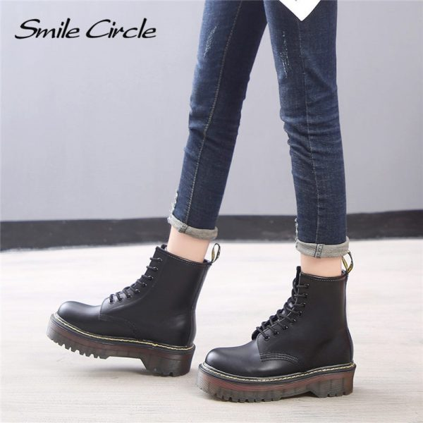 Smile Circle Size 35 42 Flat Platform Boots Women Shoes Autumn Winter Fur Fashion Round Toe 2.jpg