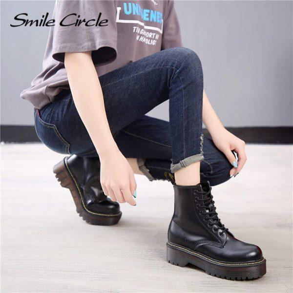 Smile Circle Size 35 42 Flat Platform Boots Women Shoes Autumn Winter Fur Fashion Round Toe 3.jpg
