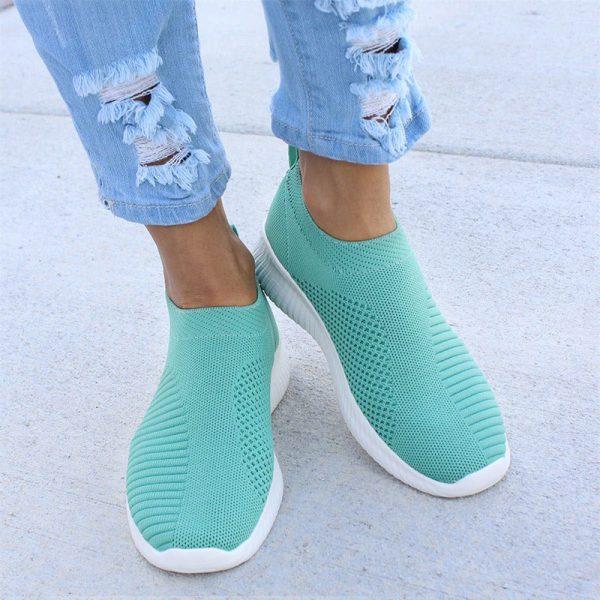 Women Sneaker Air Mesh Soft Female Knitted Vulcanized Shoes Casual Slip On Ladies Flat Shoes Walking 3.jpg